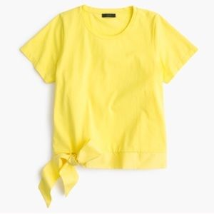 🍋 J. Crew Side Tie T-Shirt Iced Lemon Yellow Tee